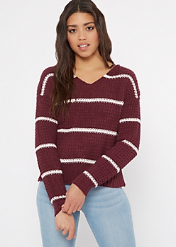 Plum Striped Chenille Lattice Sweater