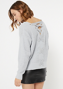 Pale Blue Chenille Lace Up Sweater