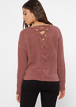 Mauve Chenille Lace Up Sweater