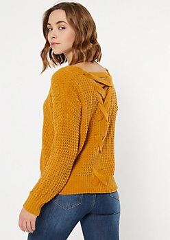 Mustard Chenille Lace Up Sweater