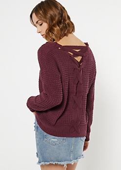 Plum Chenille Lace Up Sweater