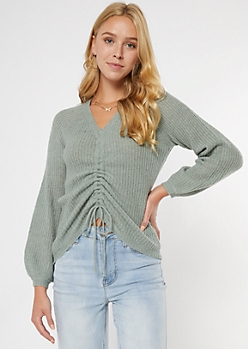 Sage Green Ruched Front Sweater