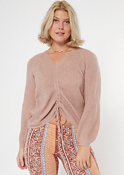 Mauve Ruched Front Sweater