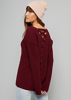 Burgundy Lace Up Back V Neck Ribbed Knit Sweater