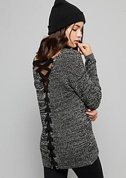 Black Marled Lace Up Back V Neck Sweater