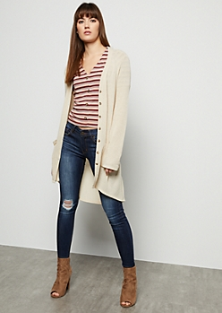 Oatmeal Long Length Button Down Cardigan