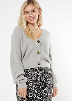Heather Gray Boxy Balloon Sleeve Cardigan
