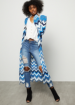 Blue Chevron Pointelle Long Length Cardigan