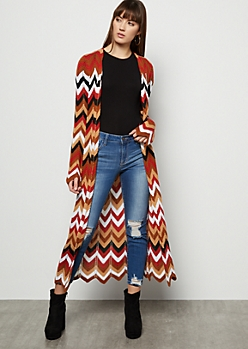 Brown Chevron Pointelle Long Length Cardigan