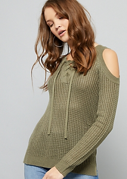 f8802cb7dfb Olive Cold Shoulder Lace Up Sweater