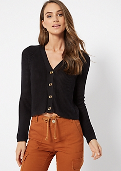 Black Shimmer Cropped Cardigan