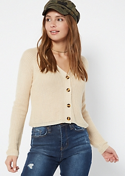Ivory Shimmer Cropped Cardigan