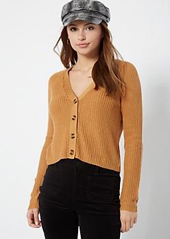 Camel Shimmer Cropped Cardigan