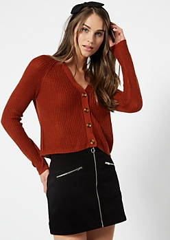 Burnt Orange Shimmer Cropped Cardigan
