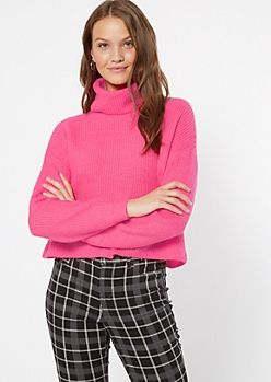 Neon Pink Cropped Cowl Neck Sweater