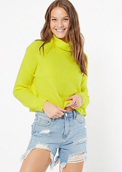 Neon Yellow Cropped Cowl Neck Sweater
