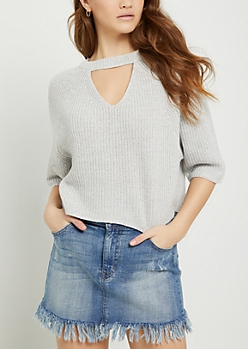 Gray Marled Keyhole Crop Sweater