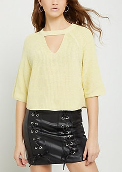 Yellow Marled Keyhole Crop Sweater
