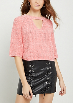 Pink Marled Keyhole Crop Sweater