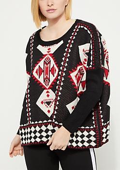 Aztec Print Boxy Sweater
