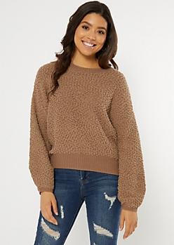 Brown Popcorn Knit Curved Hem Sweater