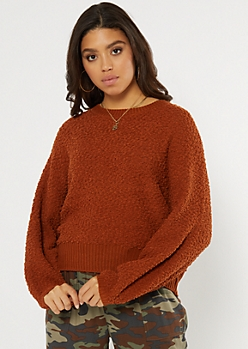 Orange Popcorn Knit Curved Hem Sweater