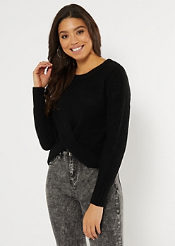 Black Twist Front High Low Sweater