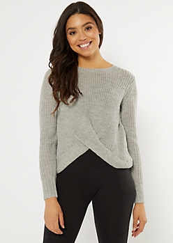 Gray Twist Front High Low Sweater