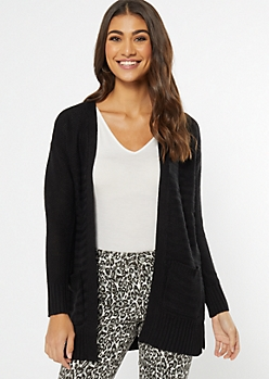Black Ribbed Waffle Knit Side Slit Cardigan