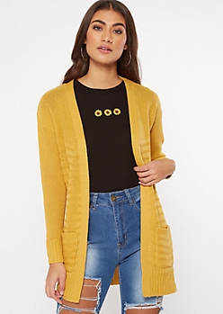 Mustard Ribbed Waffle Knit Side Slit Cardigan