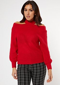 Red Crisscross Neck Cold Shoulder Sweater