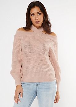 Pink Crisscross Neck Cold Shoulder Sweater