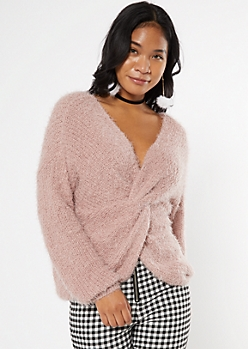 Pink Fluffy Knit Twist Convertible Sweater