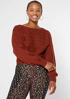 Rust Red Pointelle Slouchy Boat Neck Sweater