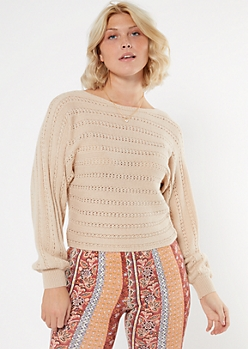 Taupe Pointelle Slouchy Boat Neck Sweater