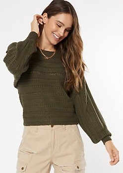Olive Pointelle Slouchy Boat Neck Sweater