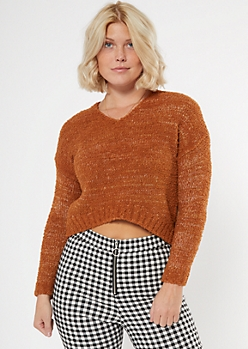 Camel Marled Slouchy Cropped Sweater