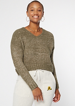 Olive Marled Slouchy Cropped Sweater