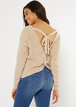 Oatmeal Heather Twist V Back Sweater