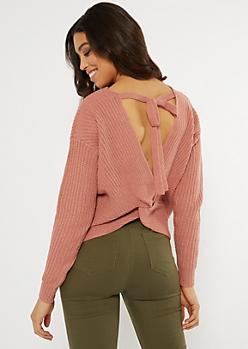 Pink Twist V Back Sweater