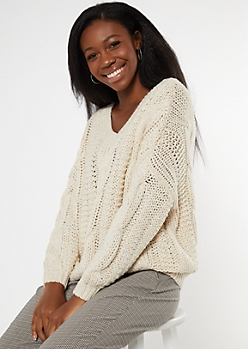 Ivory V Neck Slouchy Cable Knit Sweater