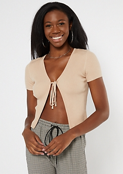 Tan Ribbed Knit Tie Front Skimmer Sweater