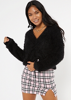 Black Fluffy Knit Ruched Drawstring Sweater