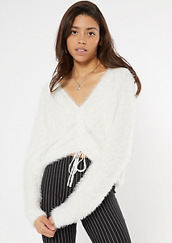 White Fluffy Knit Ruched Drawstring Sweater