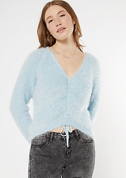 Blue Fluffy Knit Ruched Drawstring Sweater