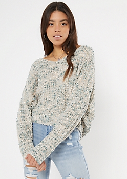 Green Confetti Knit Slouchy Sweater