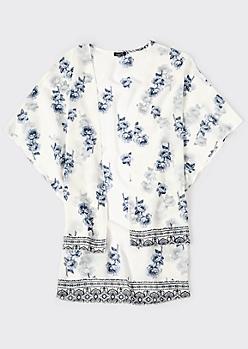 Ivory Floral Print High Low Kimono