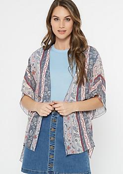 Blue Striped Border Print Chiffon Kimono