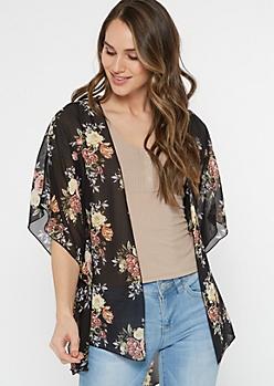 Black Floral Rose Print Chiffon Kimono
