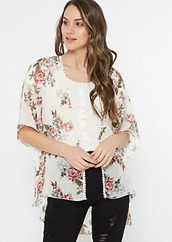 Ivory Floral Rose Print Chiffon Kimono
